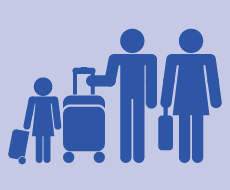 graphic of a family with suitcases, prepared for an evacuation