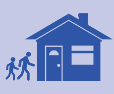 Graphic of people walking in to their home